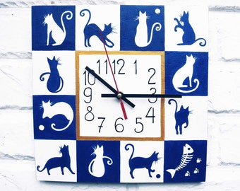 The Blue and White Cats Hand Painted Wall Clock, wall clocks handmade