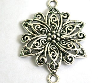 3 Lovely Silver Flower Connectors/Charms/Pendants