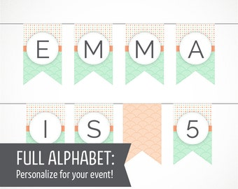 Printable Alphabet Banner in Peach & Mint