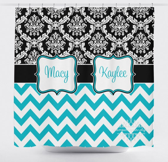 damask and chevron shower curtain black and turquoise shower