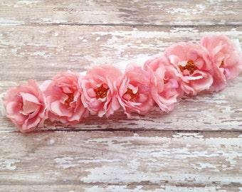 Vintage Pink Rose Boho Headband | Pink Boho Headband | Vintage Pink Rose | Pink Rose Headband