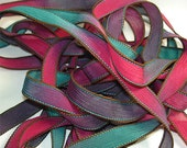 "Spellbound  42"" hand dyed silk wrist wrap bracelet  ribbon//Yoga wrist wrap bracelet ribbons//Silk wrist wrap ribbon// By Color Kissed Silk"
