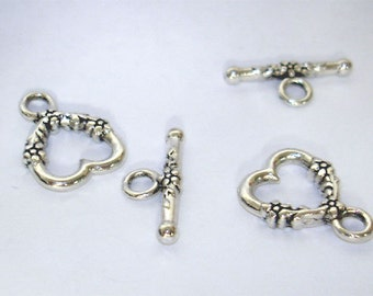 7 sets Heart Antique Silver Tone//Plated Finish//Toggle Clasp// DIY Jewelry Making Toggle//18mm x14mm Toggle Clasp with 20mm x 2 mm bar