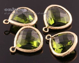 2pcs-18mmX15mmLarge Gold plated Brass Faceted Tear Drop With Glass pendants-DarkApple(M363G-I)
