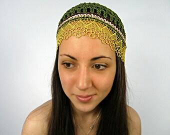 Oona Olive-Green Boho Summer Hat/Crochet Hat//Summer Beanie Hat/Large-Small hat/Women Mesh Hat/Boho BEANIE Hat/Sun Hats/Skull Caps