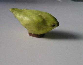 Tiny Yellow Ceramic Bird Sculpture