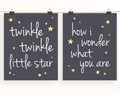 Twinkle twinkle little star, how I wonder what you are - set of 2 monochrome nursery print typography poster - gray kids wall art