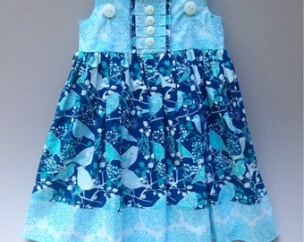 Size 5t......Blue Bird Print Dress....Made and Ready to be Shipped!!