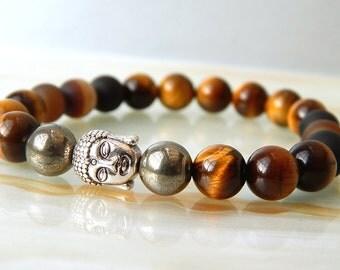 Men's Bracelet, Men's Buddha Bracelet, Yoga Bracelet, Tigers Eye Bracelet, Gifts, Beaded Bracelet, Men's Jewellery, Unisex