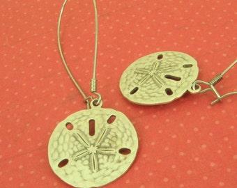 100% Donation Item - Beautiful Silver Plated Brass Sand Dollar Earrings - Long Kidney Ear Wires