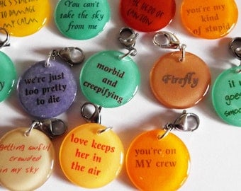 Firefly Inspired Stitch Markers for Knitters or Crocheters You Choose Quantity & Quotes