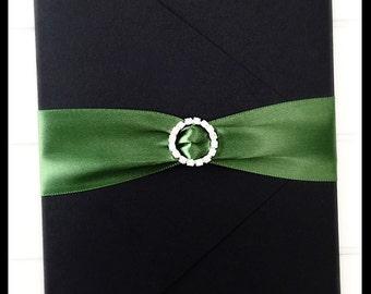 Wedding Invitation, Wedding Pocketfold Invitation with Rhinestone Buckle, Black Invitation, Green invitation, Forrest Green
