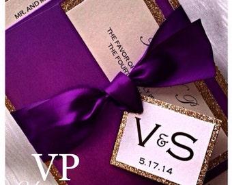 Purple and Gold Wedding Invitation, Gold Glitter Wedding Invitation, plum wedding invitations, formal wedding invitation suite