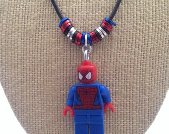 Spider-Man Mini Figure Character Necklace. Small figure on embellished leather cord necklace.