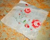 Vintage Handkerchief, Floral, Pink, Grey, Ladies, Vintage Hankie, Old Handkerchief, Pocket Square, Hanky, Hankie With Roses, Old Hankies