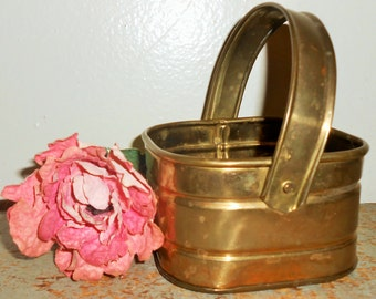 Vintage Basket, Brass, Square, Brass Basket, Handle, Small, Brass Decor, Planter Basket