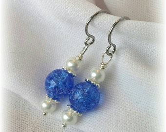 Blue Sapphire Crackle  & faux pearl earrings