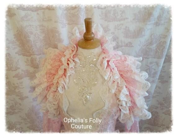 Steampunk Burlesque Ruffle Opera Shrug Vintage Pink OPHELIA  Wedding By Ophelias Folly