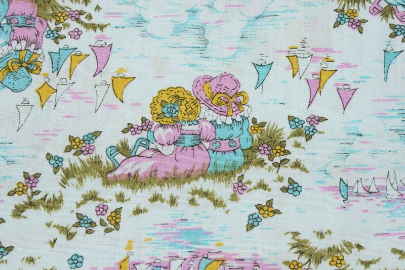 Vintage sunbonnet hat girl cotton fabric by the yard cute for Childrens cotton fabric by the yard