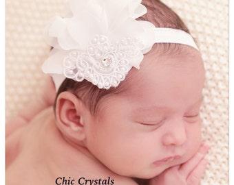 White Headband-Unique Headband-Chiffon Headband-Elastic Headband-Pearl Headband-Swarovski Crystal Headband-Infant Headband-Classy Headband