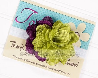 Flower Headband, Burlap, Berry, Citron, White Satin Elastic -SHIPS FREE!