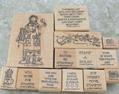 "Stampin Up Rubber Stamps, VERY Hard To Find, 1999 Near Mint, ""Stampin' Stella"", Scrapbooking, Cardmaking, ATCs, Altered Art"