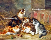 The Warmth of the Barn, Mamma Cat and Babies, Restored Antique Print