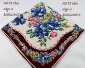 Burgundy Border with Pink, Blue, and Yellow Floral Hankie for Collecting, Framing, Sewing, Crafts, Collage    S14