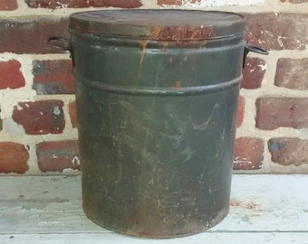 Vintage Rustic Army Green Metal Tin Can