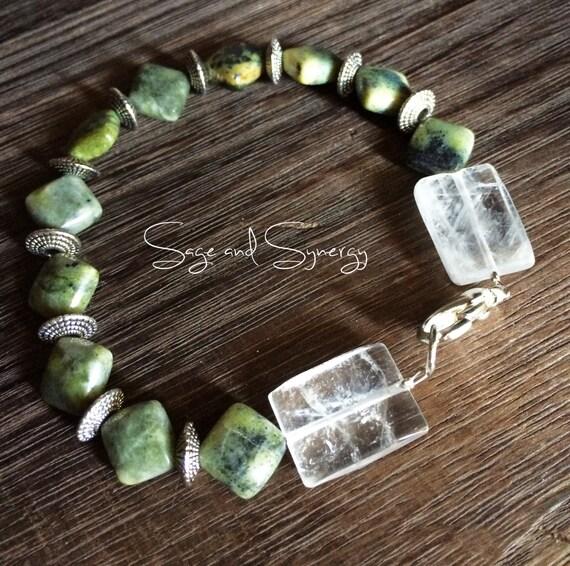Green Chrysoprase Gemstone Bracelet for Her, Gift for Women, Green Stone Bracelet, Healing Jewelry, Size 8.5, Handmade Jewelry, Bracelet