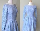 Vintage 1950s Dress - 50s Dress - Lace Dress - Le Bleu Soirée Party Dress