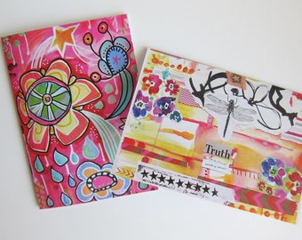 "Artsy Greeting Cards | Set of 2 | ""Truth"" and Abstract Floral Doodles"