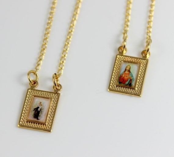 Gold Scapular Necklace: Scapular Necklace Gold Filled Double Pendant Protection
