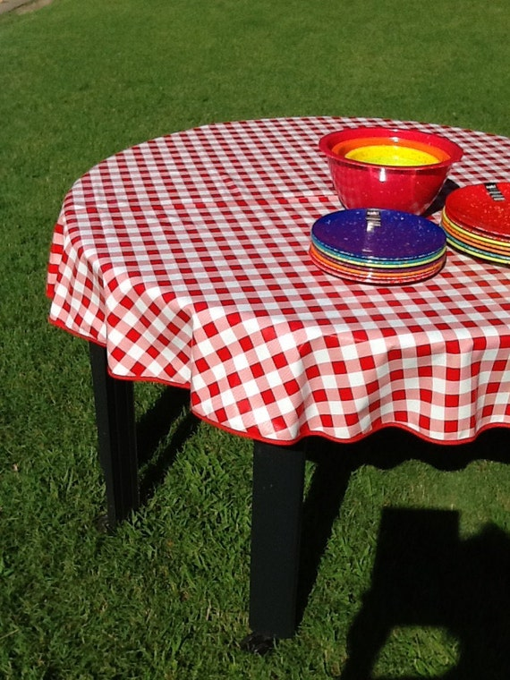 60 Round Oilcloth Tablecloth Red Cafe Check No Hole