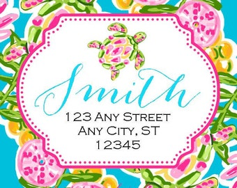 Preppy Turtle Tropical Labels Stickers for Party Favors, Gift Tags, Address Labels