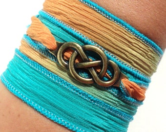Infinity Silk Wrap Bracelet Eternity Love Forever Yoga Jewelry Orange Blue Unique Gift For Her Christmas Friendship Daughter Under 25
