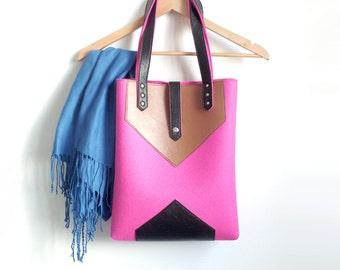 Pink Brown Black Wool Felt Genuine Leather Tote Bag