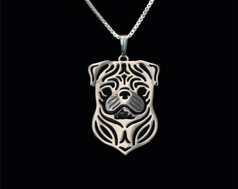 Pug - sterling silver pendant and necklace.