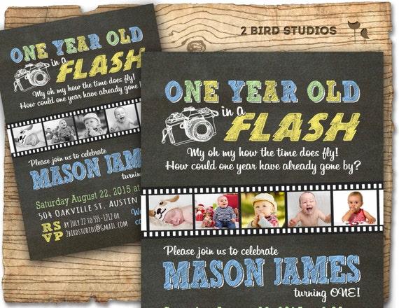 1st birthday invitation one year old in a flash first birthday il570xn filmwisefo Gallery