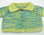 Organic cotton baby sweater 6-12 month size handknit blue and green short sleeves