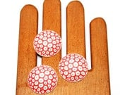 30mm Round Coral and Cream Cabochons*Set of 3 Carved Cabochons