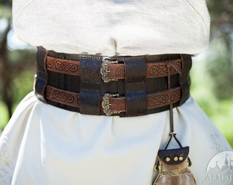 Viking Embossed Leather Belt; War Belt; Belt; Leather Belt; Viking Belt