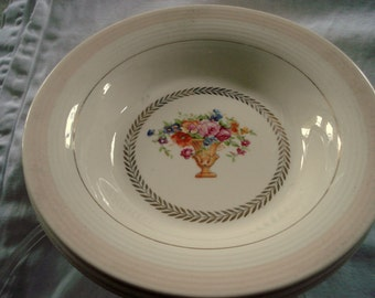 Vintage Wedding Soup Bowls Sebring Pottery Treasure Island Pattern Set of 3 Pink and Ivory Cottage Chic Vintage Bridal Shower