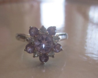 Vintage  Sterling Silver 925 Pale Purple Lilac CZ 925 Ring, Floral Ring, SIZE 7 Ring, Birthstone Ring, Birthday, Anniversary, Bridesmaid,