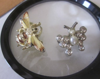 Jewelry Lot, Two Brooches, Vintage Pot Metal Pearl and Rhinestone Butterfly Brooch and Gold Bumble Bee Insect Brooch, 1940's Insect  Lot