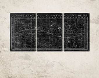 """Vintage Universe METAL Map Triptych 48x24"""" FREE SHIPPING"""