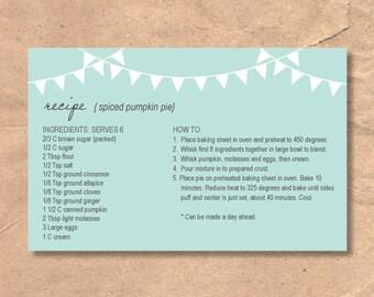Printable & Editable Recipe Cards: Garland/Bunting