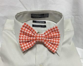 Orange Houndstooth Print Bowtie / Bow Tie