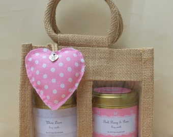Candle Gift Set, complete with two large 200ml soy candles, heart pomader and gift bag