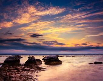 Lake Michigan Sunset and Rocks, Old Mission Peninsula, Summer Evening, Traverse City, West Bay, Fine Art Photography, Michigan Photograph